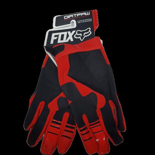 gloves fox red black back